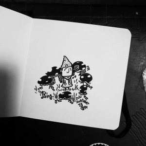 Let's go inktober ! Quick and dirty drawing ! A ring of mushroom, with a lutin #inktober #ring #inktober2019 🍁🍁🍁🍄🍄🍄#mushrooms #lutin #muse