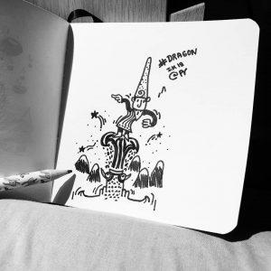 Dragon inspiration #inktober2019 #inktober #dragon #gnome #illustrator