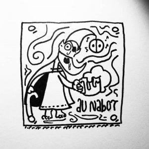 Une petite soif à étancher ? Au nabot, rien ne sort sec, ce n'est pas une lessiverie ! 🍻🥂🍷 #ink #inktober2019 #legend #inktober #beer #gnomelife #faery #blackandwhite #enseigne #grelot