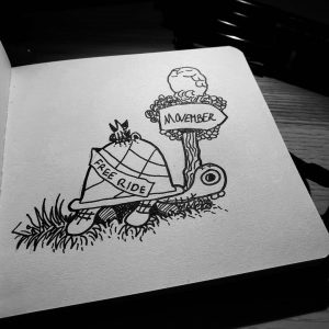 Ride, ride, ride little tortoise, gnomes want to travel through time, and the destination is the future. 🐢🐢🐢 #inktober2019 #inktober #ride #gnome #gnomelife #tortoise #movember #owls