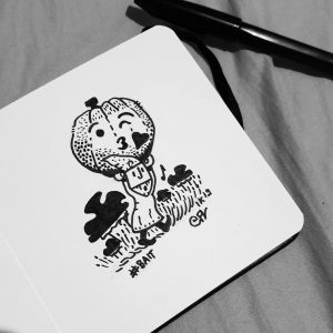 #day3 #bait don't know ... a sprite walking with a pumpkin emote .😘😘😘 to attract something, but what ? Don't know... . .#kiss #inktober2019 #inktober #jackparker #sprite